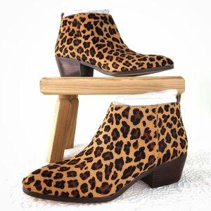 J. Crew Factory Sawyer Calf Hair Leopard Booties